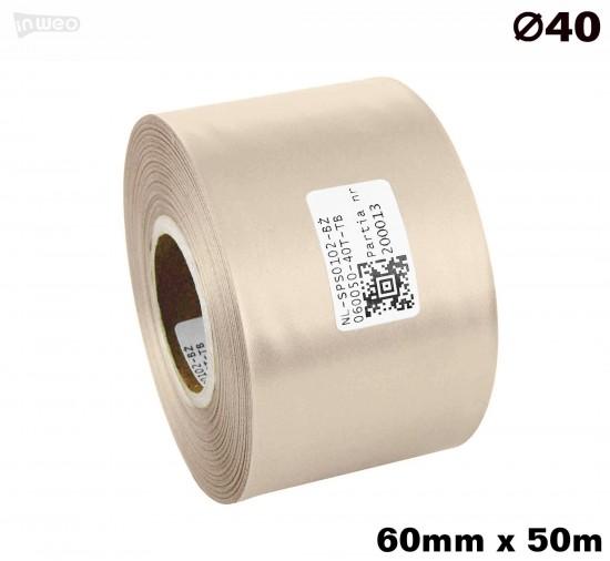 Beżowa taśma satynowa premium 60mm x 50mb