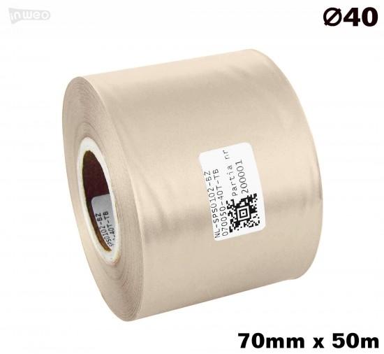 Beżowa taśma satynowa premium 70mm x 50mb
