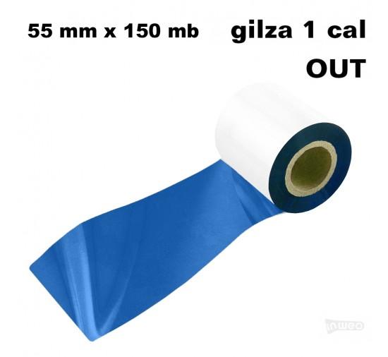 Niebieska taśma termotransferowa żywiczna do tekstyliów 55x150 OUT Taśmy termotransferowe