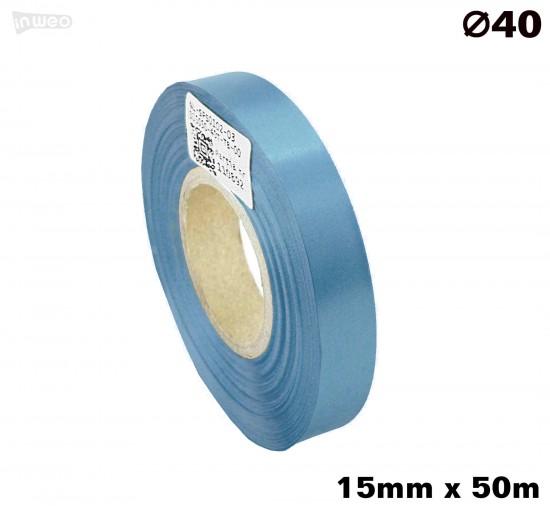 Błękitna taśma satynowa premium 15mmx50mb