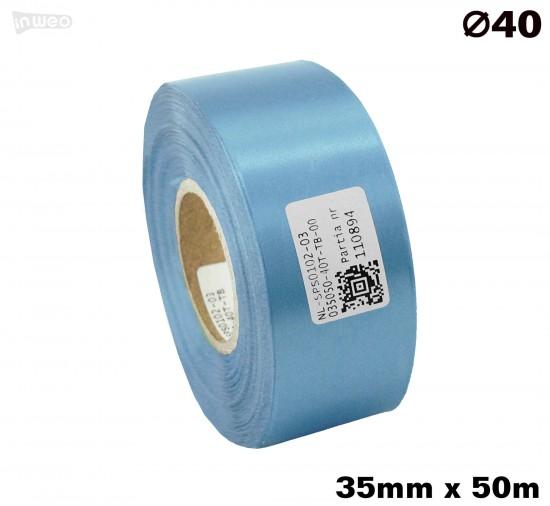 Błękitna taśma satynowa premium 35mmx50mb