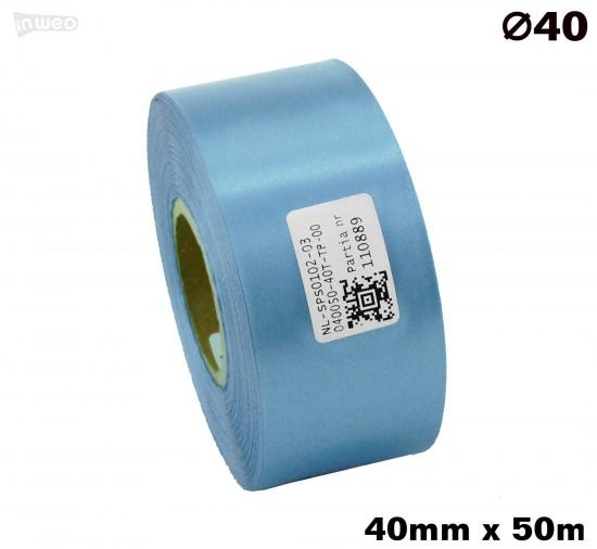 Błękitna taśma satynowa premium 40mmx50mb