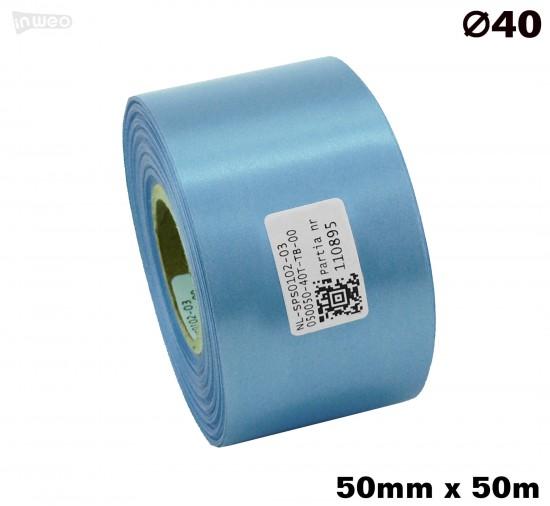 Błękitna taśma satynowa premium 50mmx50mb