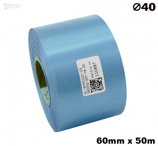 Błękitna taśma satynowa premium 60mmx50mb