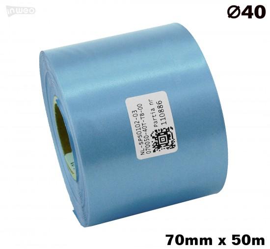 Błękitna taśma satynowa premium 70mmx50mb