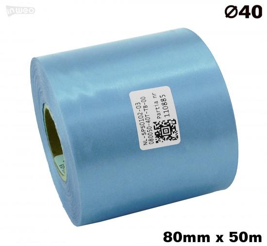 Błękitna taśma satynowa premium 80mmx50mb