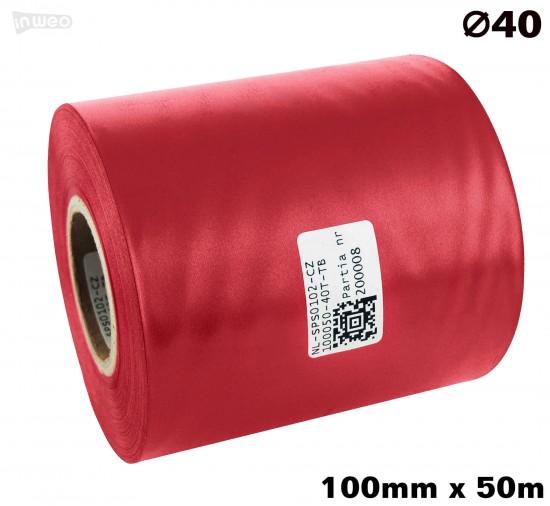 Czerwona taśma satynowa premium 100mm x 50mb