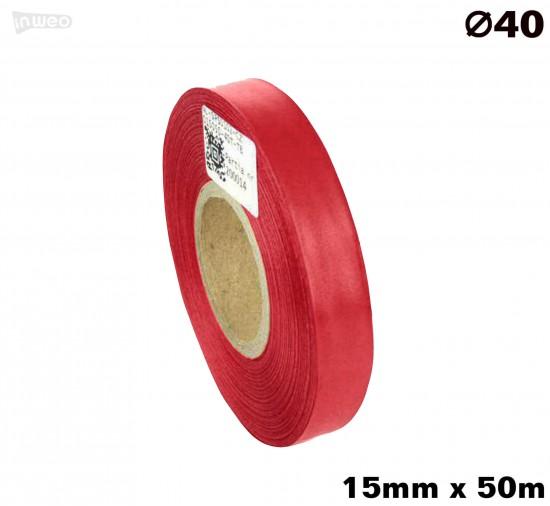 Czerwona taśma satynowa premium 15mm x 50mb