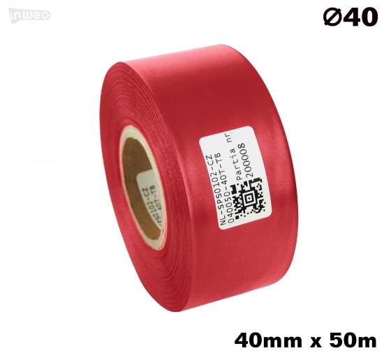 Czerwona taśma satynowa premium 40mm x 50mb