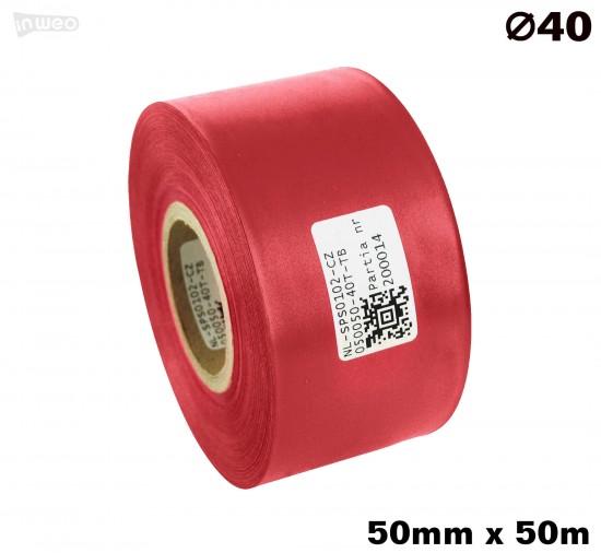 Czerwona taśma satynowa premium 50mm x 50mb