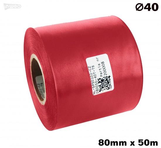 Czerwona taśma satynowa premium 80mm x 50mb