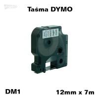 Taśma D1 zamiennik do DYMO 12mm/7m transparentna czarny nadruk 45010