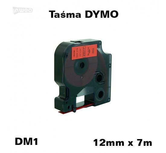 Taśma D1 zamiennik do DYMO 12mm/7m czerwona czarny nadruk 45017