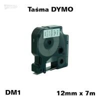 Taśma D1 zamiennik do DYMO 12mm/7m biała czarny nadruk 45013