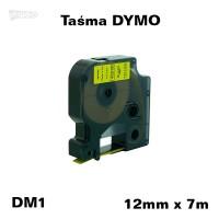 Taśma D1 zamiennik do DYMO 12mm/7m żółta czarny nadruk 45018