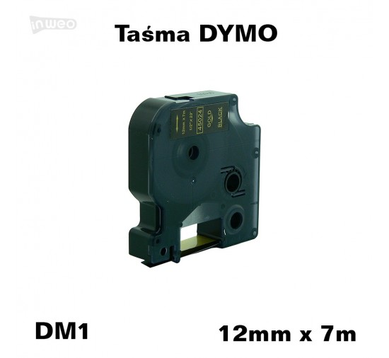 Taśma D1 zamiennik do DYMO 12mm/7m czarna złoty nadruk 45024