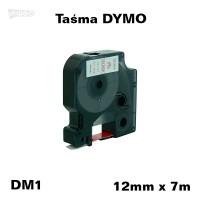 Taśma D1 zamiennik do DYMO 12mm/7m biała czerwony nadruk 45015
