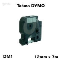 Taśma D1 zamiennik do DYMO 12mm/7m transparentna biały nadruk 45020