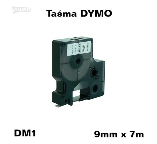Taśma D1 zamiennik do DYMO 9mm/7m biała czarny nadruk 40913