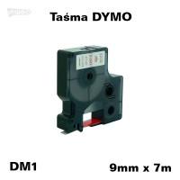 Taśma D1 zamiennik do DYMO 9mm/7m biała czerwony nadruk 40915