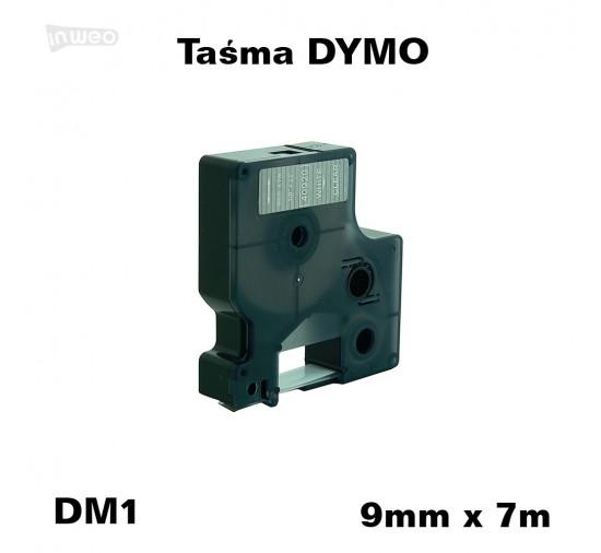 Taśma D1 zamiennik do DYMO 9mm/7m transparentna biały nadruk 40920