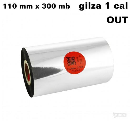 Taśma termotransferowa żywiczna standard 110mm x 300mb OUT