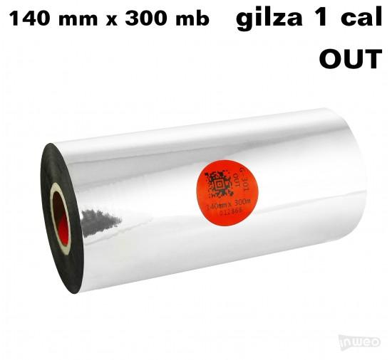 Taśma termotransferowa żywiczna standard 140mm x 300mb OUT