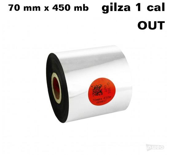 Taśma termotransferowa żywiczna standard 70mm x 450mb OUT