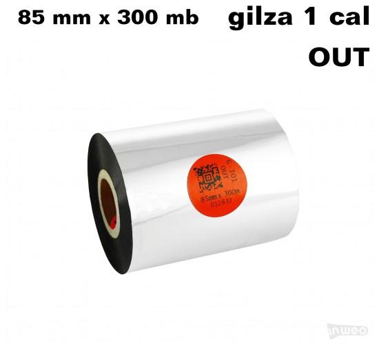 Taśma termotransferowa żywiczna standard 85mm x 300mb OUT