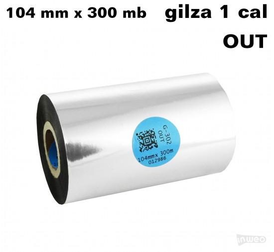 Taśma termotransferowa żywiczna premium  104mm x 300mb OUT