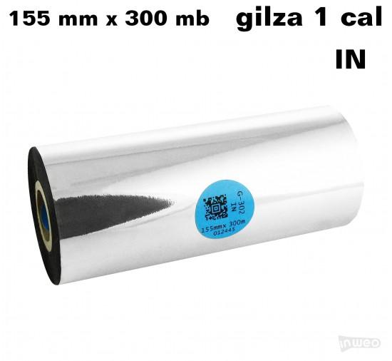 Taśma termotransferowa żywiczna premium 155mm x 300mb IN