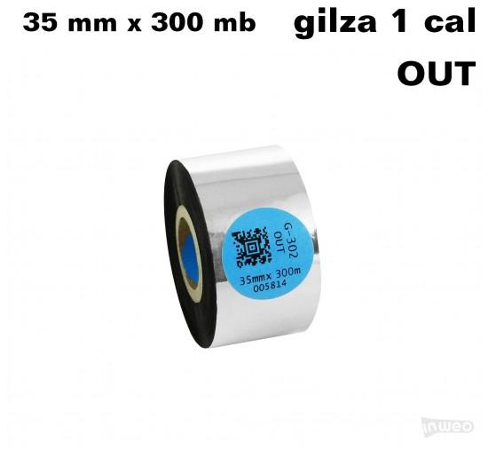 Taśma termotransferowa żywiczna premium  35mm x 300mb OUT