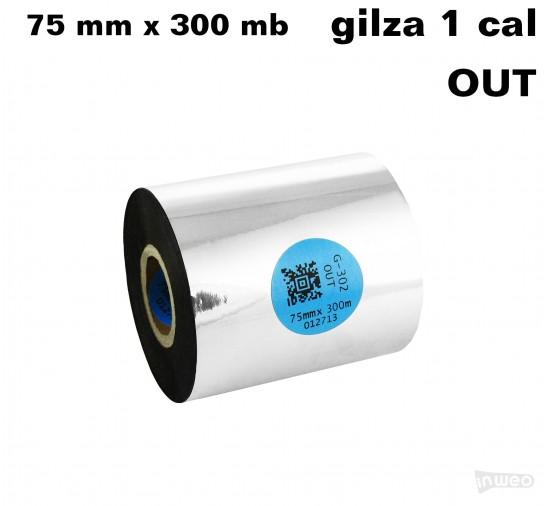 Taśma termotransferowa żywiczna premium 75mm x 300mb OUT