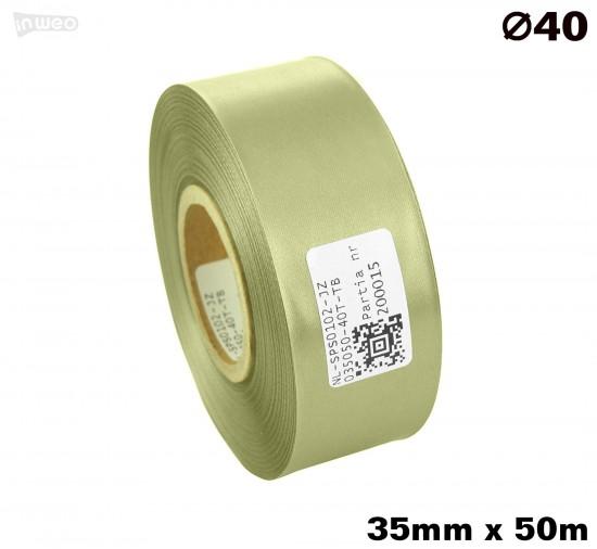 Jasnozielona taśma satynowa premium 35mmx50mb