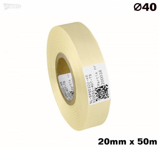 Kremowa taśma satynowa premium 20mm x 50mb