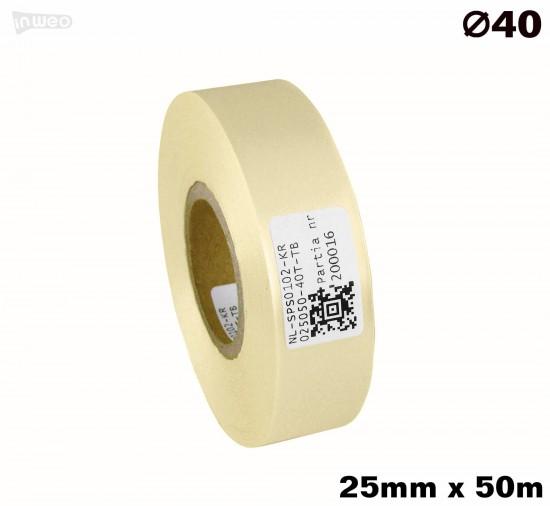 Kremowa taśma satynowa premium 25mm x 50mb