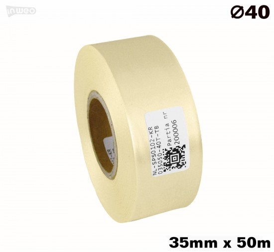 Kremowa taśma satynowa premium 35mm x 50mb