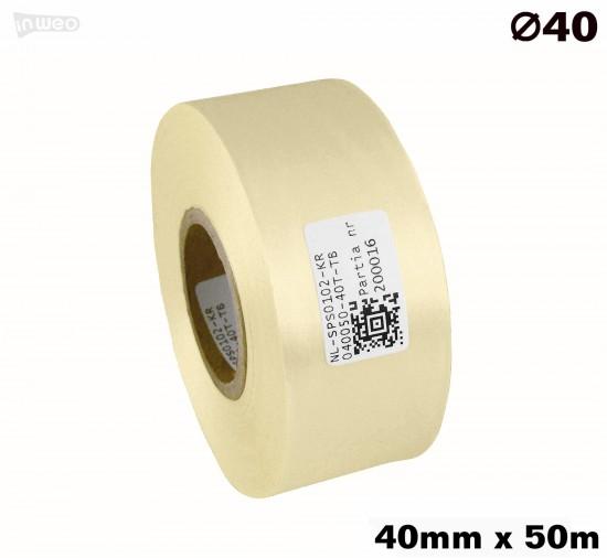 Kremowa taśma satynowa premium 40mm x 50mb