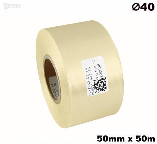 Kremowa taśma satynowa premium 50mmx50mb