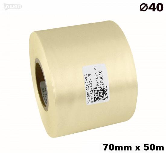 Kremowa taśma satynowa premium 70mm x 50mb
