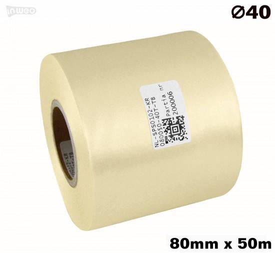 Kremowa taśma satynowa premium 80mm x 50mb