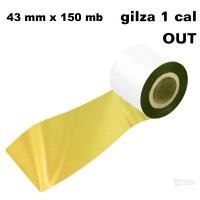 Złota taśma termotransferowa żywiczna do tekstyliów 43x150 OUT Taśmy termotransferowe