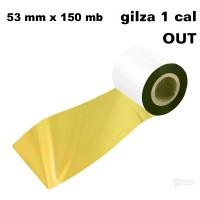 Złota taśma termotransferowa żywiczna do tekstyliów 53x150 OUT Taśmy termotransferowe