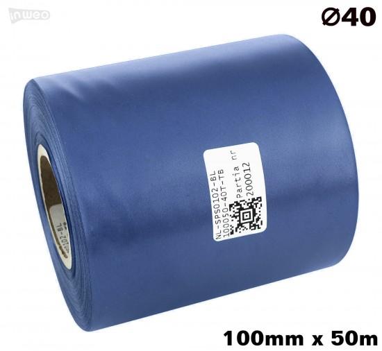 Niebieska taśma satynowa premium 100mm x 50mb