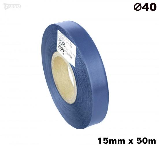 Niebieska taśma satynowa premium 15mm x 50mb