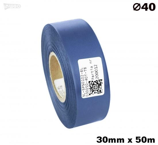 Niebieska taśma satynowa premium 30mm x 50mb
