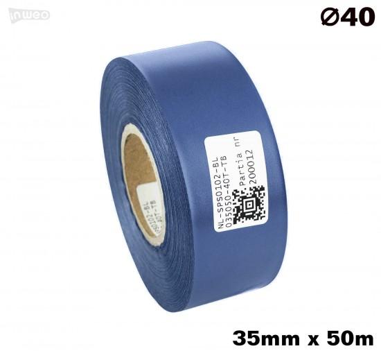 Niebieska taśma satynowa premium 35mm x 50mb