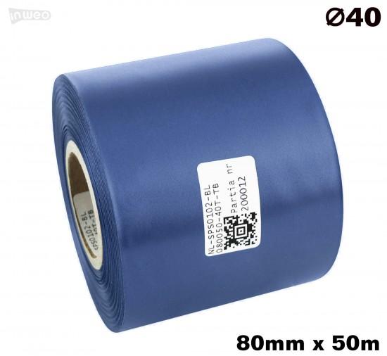 Niebieska taśma satynowa premium 80mm x 50mb