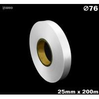 Niestrzępiąca biała taśma satynowa Premium 25mm x 200mb