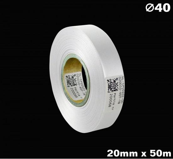 Biała taśma satynowa premium 20mm x 50mb